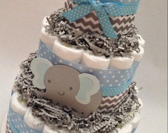 Chevron Elephant Diaper Cake/Diaper Cake/Diaper Cakes/Blue and Gray Diaper Cake/Unique Diaper Cake/Baby Shower Centerpiece