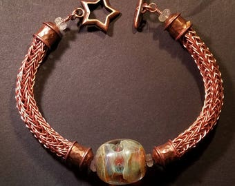 AJs Copper Viking Knit & Artisan Crafted Borosilicate Lampwork Bead Handmade Bracelet