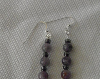 Amethyst & Hematite Sterling Silver Earrings