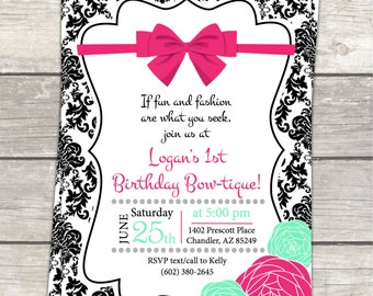printable girls Birthday Party Invitation in damask with pink teal flowers and bows, custom digital files