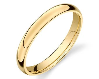 14k Yellow Gold Band (3mm) / PLAIN / Polished Rounded Dome + Comfort Fit / Men's Women's Wedding Ring Simple
