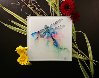 Dragonfly coaster, Glass coaster, Drinks mat, Drink mat, Drink coaster, Dragonfly drink mat, Dragonfly gift, Beverage coaster, Dragonflies
