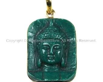Nepal Tibetan Green Buddha Pendant - TibetanBeadStore Custom Design Buddha Pendant- Handmade Jewelry - Yoga Buddha Meditation -  WM843B