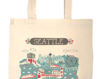 Seattle Tote Bag-City Tote-City Bag-Any City Tote-Blue-Red-Grey--Personalized-Custom City Tote Bag-Wedding Welcome Tote