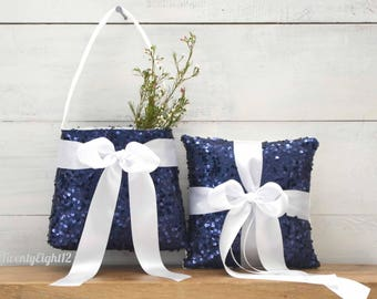 Flower Girl Basket and Ring Bearer Pillow Set - Navy Sequin and White Satin Bow - Sequin Ring Bearer Pillow and Flower Girl Basket Set