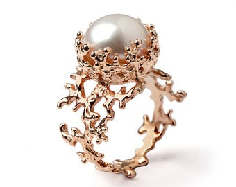 CORAL White Pearl Ring, Pearl Engagement Ring, 14k Rose Gold Engagement Ring, Rose Gold Pearl Ring, Rose Gold Ring
