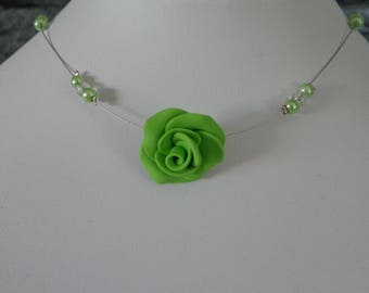 Lime Green Flower necklace set with pearls wedding