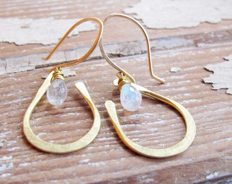 Seed Petal - Brass Stone Earrings - Moonstone Earrings - Artisan Tangleweeds Jewelry