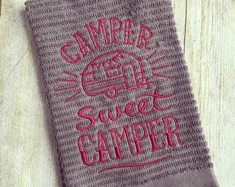 Camper Sweet Camper kitchen towel, Embroidered kitchen towel, dish towels, kitchen towel