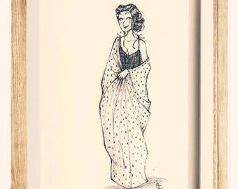 """Original illustration """"Moïra"""" in pencil, exemplary unique!"""