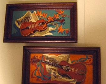 Pair of Original Mid century Guitar & Violin Paintings