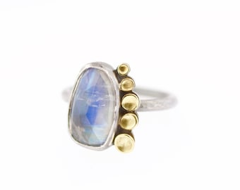 Lichen Rainbow Moonstone Rose Cut Gemstone Ring Sterling Silver 18K Gold Recycled Metal