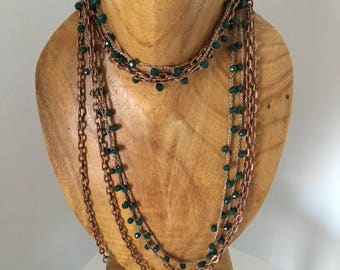 Green beads necklace and bronze chain