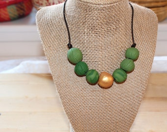 Green gold necklace, Eco Friendly handmade clay beads