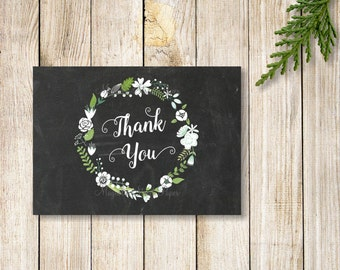 Chalkboard Thank You Card, Floral Wreath Thank You Note, Winter Wedding Thank You Card, Printable Blank Note Card, Digital Download