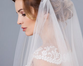 Lace Juliet Cap Veil with lace Sheer Soft Juliet Wedding Bridal Veil Double Layer Two tier veil with headband, veil with lace