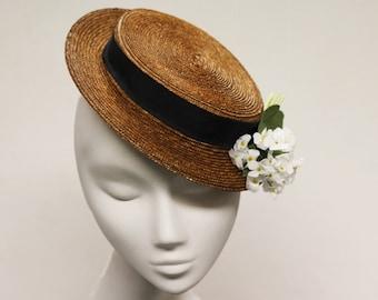 The Amerie Hat - Flat Top Straw Fascinator w/ Ivory Flower Wedding Bouquet