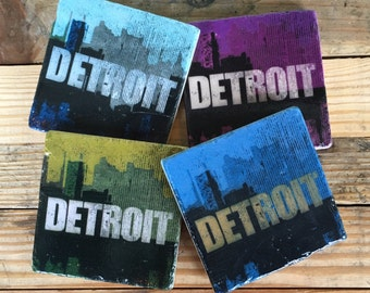 Set of 4 Detroit skyline distressed logo in Cool Color Tones, Coasters with cork backing