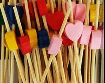 50, Dessert & Fruit Skewers, Valentines party Picks, Hearts, Best valentine desserts toothpicks, Cocktail accessories, Holiday appetizers