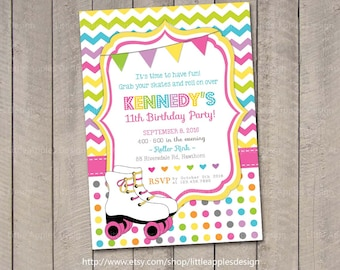 Roller Skate Birthday Invitation Rainbow Invitation Roller