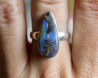 Boulder Opal Ring, Sterling Silver Boulder Opal Ring, Size 6. 5, Natural Opal Ring, Mother's Day Gift, October Birthstone, Gift for her