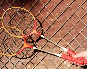 Badminton Rackets - Germina DDR Badminton Rackets - Vintage Pair of Wooden Badminton Racquets - Sports Decor - Made in East Germany