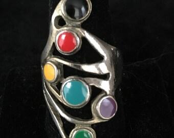 Fun Vintage Silvertone Colorful Enamel Ring