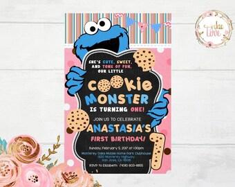 Cookie Monster Girl Invitation