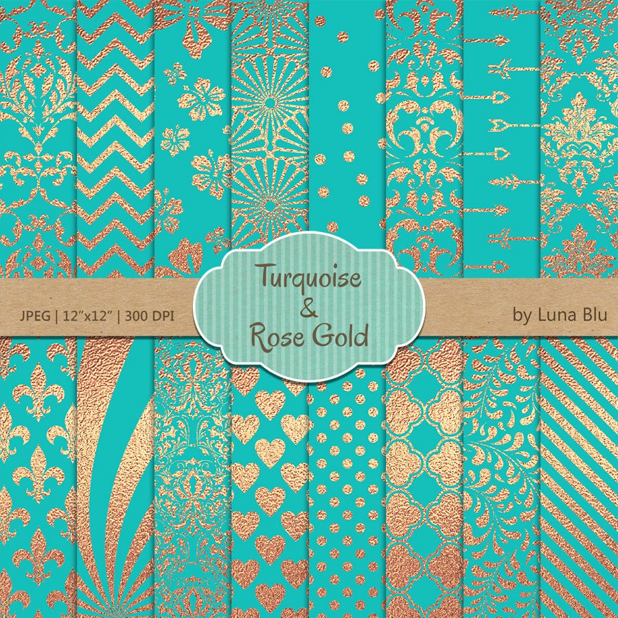 turquoise and rose gold digital paper  turquoise and
