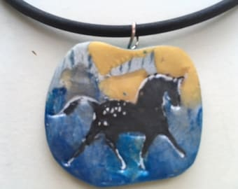 Black trotting horse pendant,  painted on polymer clay.