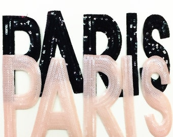 Black and Pink PARIS Sequin Patches Large Sequined Letter Patch Applique 220
