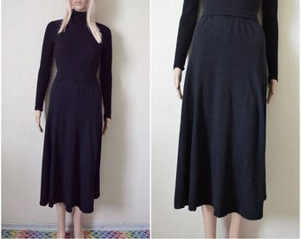Black wool skirt long midi skirt Vintage 90s minimalist Autumn Winter knitted skirt High waist Womens S Small