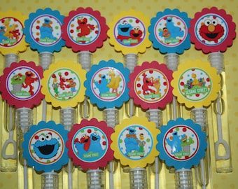 Sesame Street inspired Mini Bubble Wands Birthday Party favors- set of 15
