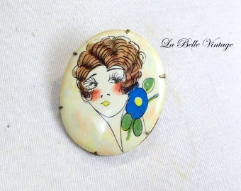 20s Flapper Girl Brooch Vintage Lithograph Celluloid Pin