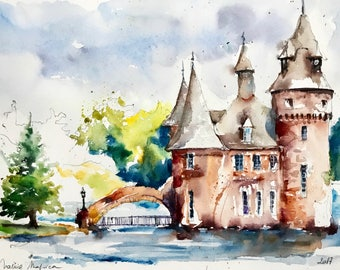 "Original watercolor painting-""The Boldt castle entrance"" free shipping (watercolor painting Boldt Castle)"
