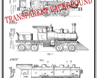 Train blueprints etsy steam train railroad art railroad decor patent prints train art train decor blueprint poster printable wall art railroad man gift malvernweather Images