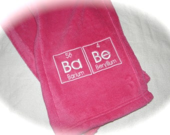 Chemistry BABE Scarf in Hot PINK - Fuzzy Science Geek Embroidery - Ready to Ship