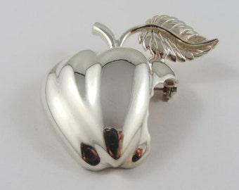 Sterling Silver Vintage Mexican TH-90 Apple Brooch
