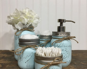 Mason Jar Set, Mason Jar Decor, Painted Mason Jars, Farmhouse Decor, Vintage Decor, Distressed Jars, Bathroom Decor, Cottage Decor