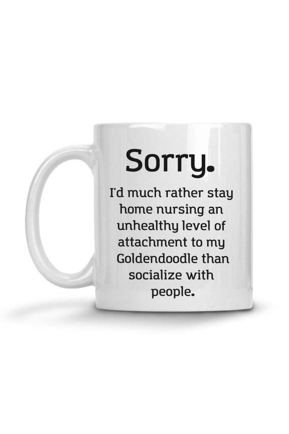 Goldendoodle Funny Pet Gift Stay Home Quote Coffee Mug Dog Mug