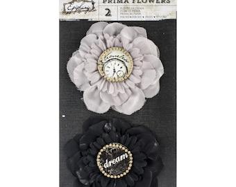 Black and Gray Fabric Flowers Set of 2 - Prima Marketing Epiphany (578879)