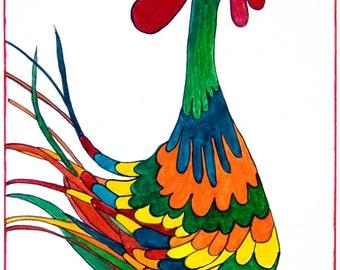 Bird Print, Rooste, Rooster Print, Dancing Rooster, Robert the Tap Dancing Rooster Print