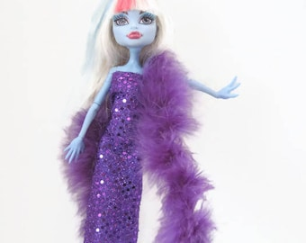 Purple Sequin Gown with Purple Boa for Monster High Doll