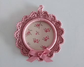 Frame round outline pink crochet - home wall decor - only one