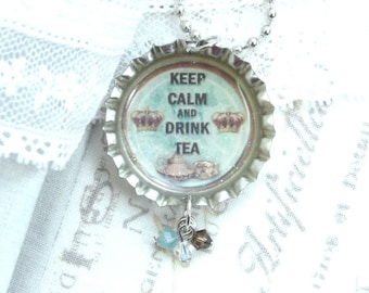 Keep Calm Necklace Tea Necklace Teacup Necklace Tea Lover Gift Bottle Cap Necklace Tea Party Necklace