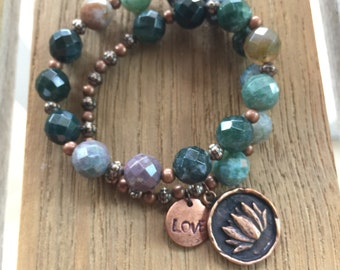CLEARANCE Lotus Charm Stretch Bracelet Fancy Jasper Bracelet
