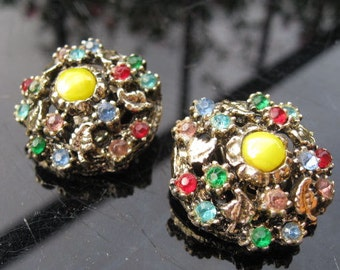 1960s multi coloured clip on earrings