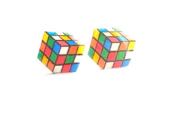Cube Stud Earrings 80's and 90's