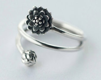 Vintage Solid 925 Sterling Silver Ring jewellery Multi-layered Lotus Flower & Bud Ring Namaste Yoga, Bridesmaid, Valentines, Birthday