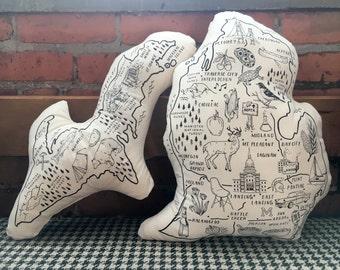 Illustrated Michigan Peninsula Shaped Pillow set
